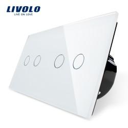 Livolo Луксозен ключ, Кристално стъкло , Нормален, 4 ключа, 1 посока