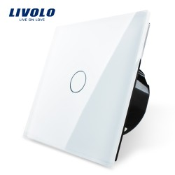 Livolo Luxury Бяло кристално стъкло , Нормален 1 ключ, 1 посока